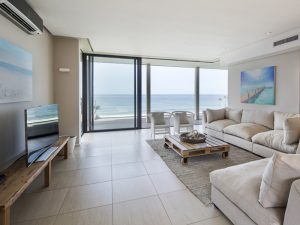 Lounge with seaview at Sovereign Sands the luxurious beach Holiday Villa on the North Coast. This 8 sleeper is the epitome of self-catering excellence, a perfect holiday home.